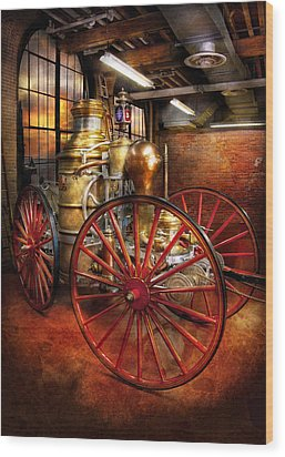 Fireman - One Day A Long Time Ago  Wood Print by Mike Savad