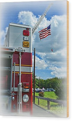 Fireman - Proudly They Serve Wood Print by Paul Ward