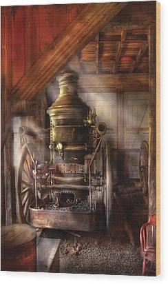 Fireman - Steam Powered Water Pump Wood Print by Mike Savad