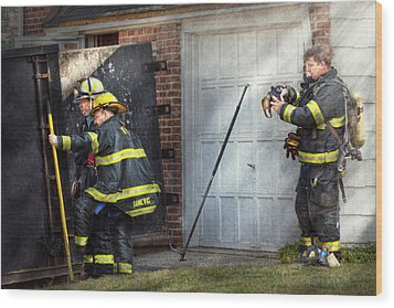 Fireman - Take All Fires Seriously  Wood Print by Mike Savad