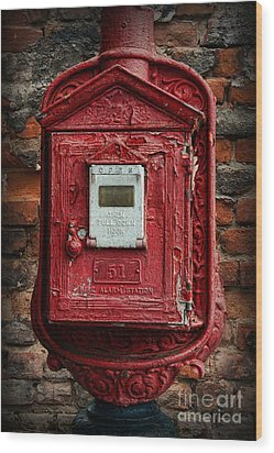 Fireman - The Fire Alarm Box Wood Print by Paul Ward