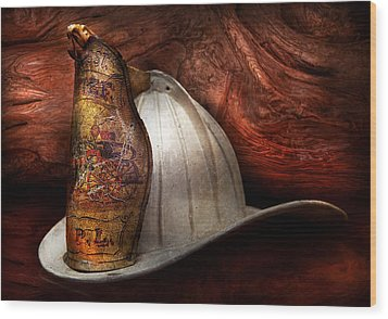 Fireman - The Fire Chief Wood Print by Mike Savad