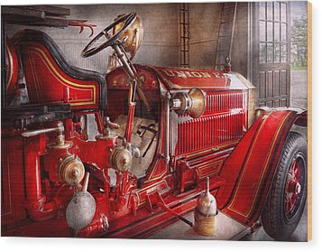 Fireman - Truck - Waiting For A Call Wood Print by Mike Savad