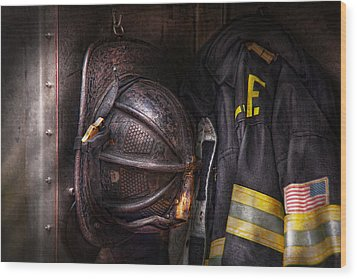 Fireman - Worn And Used Wood Print by Mike Savad