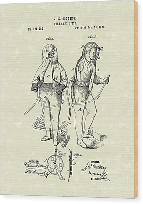 Fireman's Suits 1876 Patent Art Wood Print by Prior Art Design