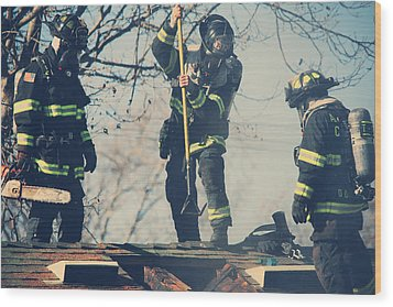 Firemen Wood Print by Laurie Search