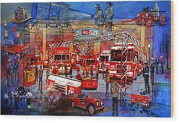 Firemen's Convention Wood Print