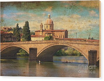 Ponte Alla Carraia Wood Print by Nicola Fiscarelli