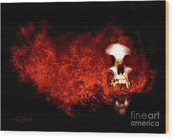 Fireskull 2 Wood Print by Tom Straub