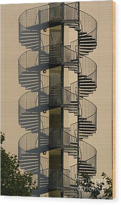 Firestairs Wood Print by Susanne Baumann
