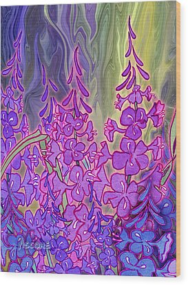 Wood Print featuring the mixed media Fireweed Medley by Teresa Ascone
