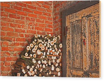 Firewood And Door Wood Print by Bobby Villapando