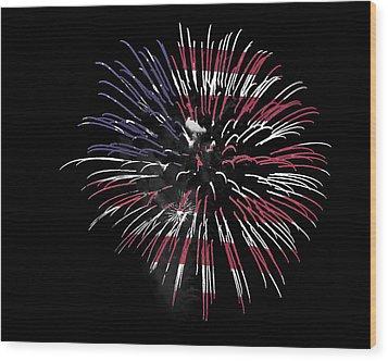 Firework Over Flag Wood Print by Robert Graybeal