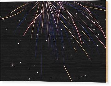 Firework Rain Wood Print