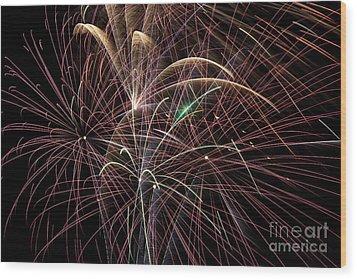 Firework Trails Wood Print by Jason Meyer