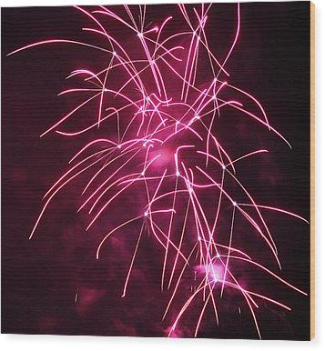 Rockets Red Glare Fireworks Wood Print by Howard Tenke