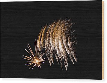 Wood Print featuring the photograph Fireworks 1 by Susan  McMenamin