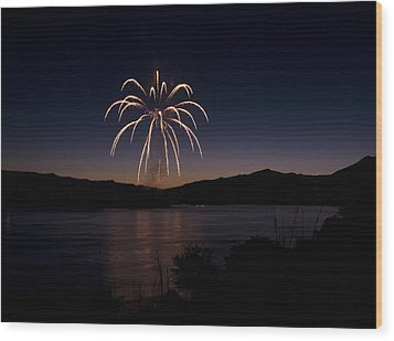 Wood Print featuring the photograph Fireworks 11 by Sonya Lang