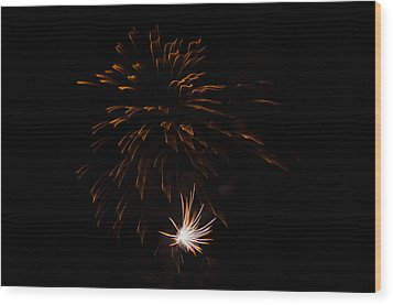 Wood Print featuring the photograph Fireworks 2 by Susan  McMenamin