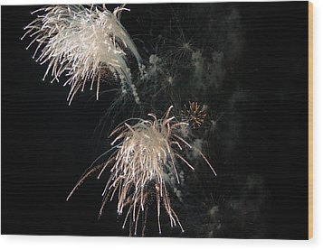 Wood Print featuring the photograph Fireworks 3 by Susan  McMenamin