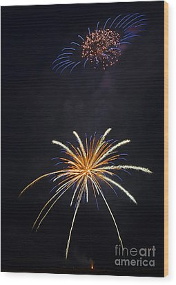 Fireworks 3 The Spaceship Wood Print by Dianne Phelps