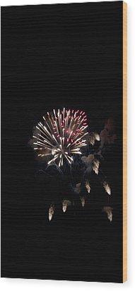 Fireworks At Night Wood Print