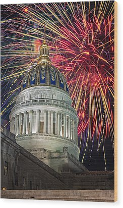 Fireworks At Wv Capitol Wood Print by Mary Almond