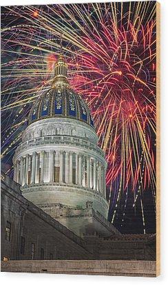 Fireworks At Wv Capitol Wood Print