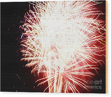 Wood Print featuring the digital art Fireworks By Angela by Angelia Hodges Clay