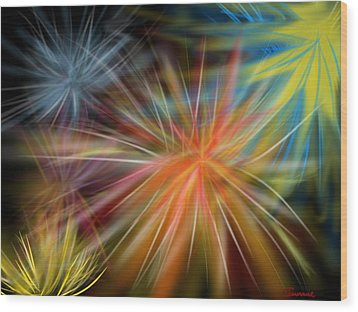 Wood Print featuring the digital art Fireworks by Christine Fournier