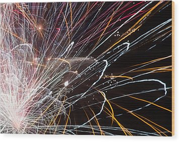 Fireworks Cropped Wood Print by Carl Clay