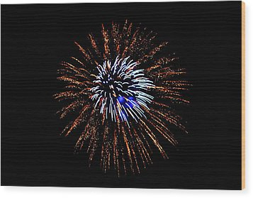Fireworks Exposion Wood Print by Gene Walls