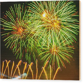 Wood Print featuring the photograph Fireworks Green And Yellow by Robert Hebert