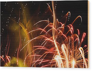 Wood Print featuring the photograph Fireworks Finale  by Haleh Mahbod