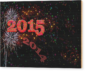 Fireworks Happy New Year 2015 Wood Print
