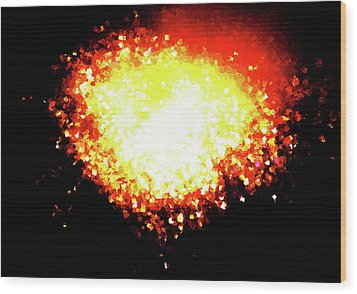 Fireworks Heart Wood Print by Andrea Barbieri