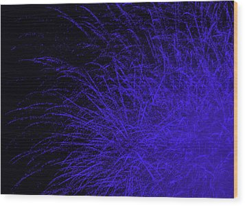 Fireworks In Blue Wood Print by Jacqueline Russell