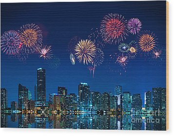 Fireworks In Miami Wood Print by Carsten Reisinger