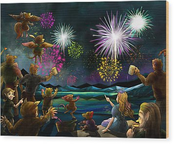 Wood Print featuring the painting Fireworks In Oxboar by Reynold Jay