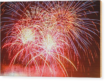 Fireworks In Red White And Blue Wood Print