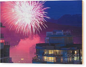 Fireworks In The City Wood Print by Nancy Harrison