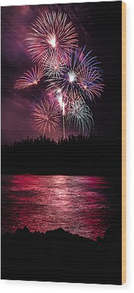 Fireworks In The Country - Pink Wood Print by Justin Martinez