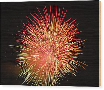 Wood Print featuring the photograph Fireworks  by Michael Porchik