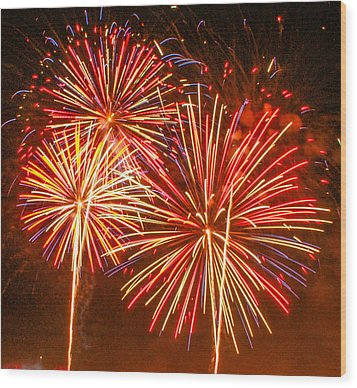 Wood Print featuring the photograph Fireworks Orange And Yellow by Robert Hebert