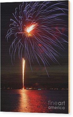 Fireworks Over Lake Wood Print