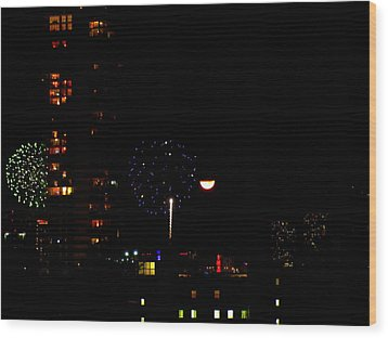 Wood Print featuring the photograph Fireworks Over Miami Moon II by J Anthony