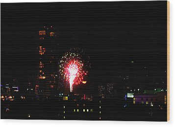 Wood Print featuring the photograph Fireworks Over Miami Moon by J Anthony