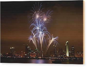 Fireworks Over San Diego Skyline Wood Print by Jetson Nguyen