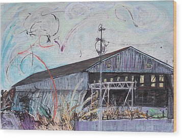Fireworks Over Schnitzer Steel Wood Print by Asha Carolyn Young