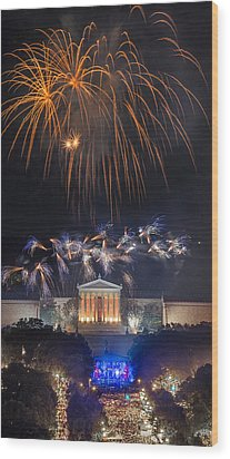 Fireworks Over The Parkway Wood Print by Bruce Neumann